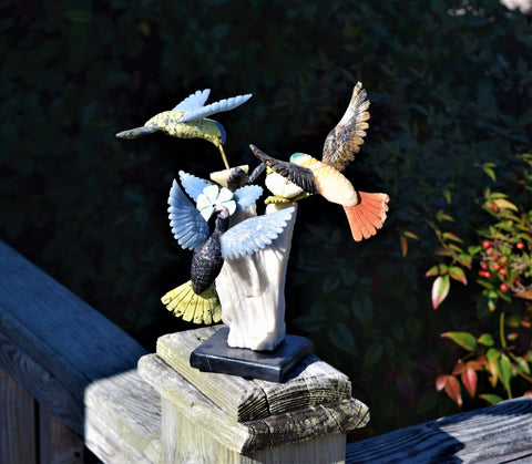 Carved Mineral Hummingbirds