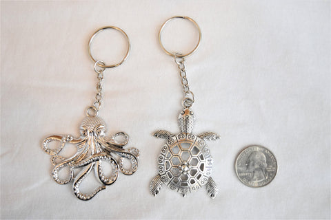 Sea turtle and octopus charms