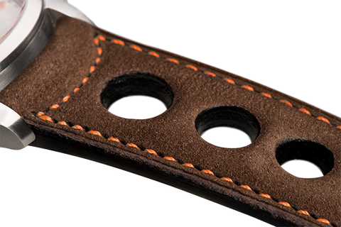 Sport: brown nubuck - orange stitching