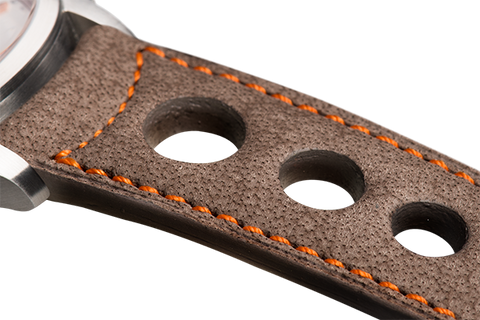 Sport: taupe nubuck - orange stitching -  Wriststrap - Raidillon