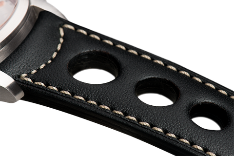 Sport: black eco calfskin - natural stitching -  Wriststrap - Raidillon