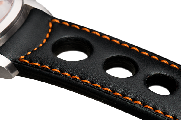 Sport: black eco calfskin - orange stitching -  Wriststrap - Raidillon