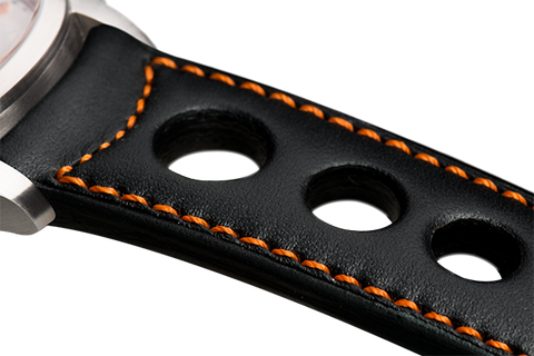 Sport: black eco calfskin - orange stitching