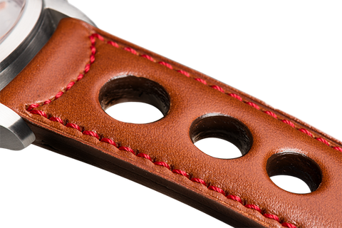 Sport: natural eco calfskin - red stitching