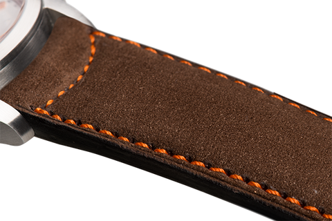 Classic: brown nubuck - orange stitching