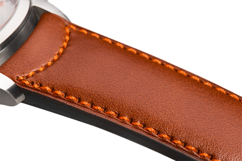 Classic: natural eco calfskin - orange stitching