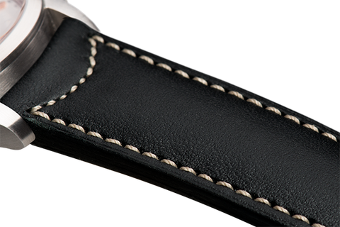 Classic: black eco calfskin - natural stitching