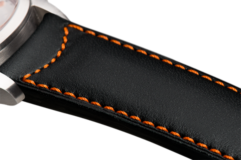 Classic: black eco calfskin - orange stitching
