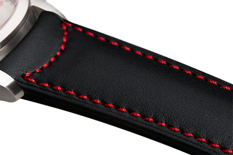 Classic: black eco calfskin - red stitching