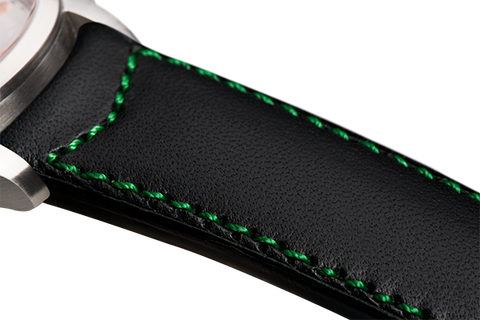 Classic: black eco calfskin - green stitching