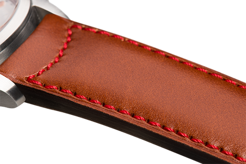 Classic: natural eco calfskin - red stitching