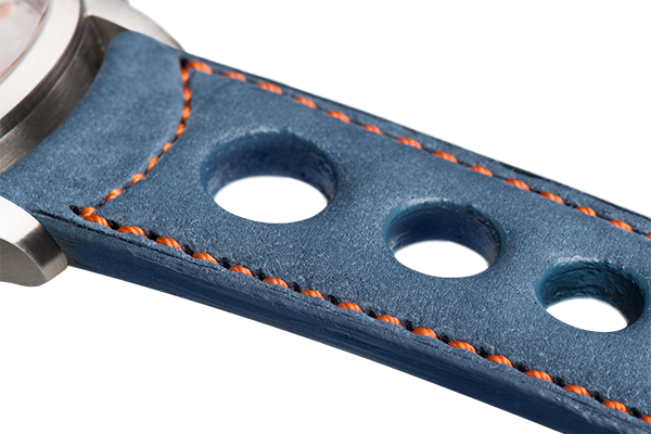 Sport: blue nubuck - orange stitching -  Wriststrap - Raidillon