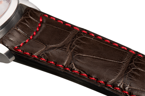 Classic: brown Louisiana alligator - red stitching -  Wriststrap - Raidillon