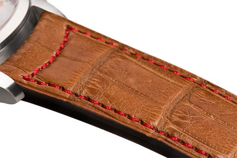 Classic: gold Louisiana alligator - red stitching