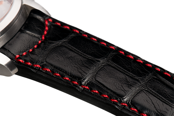 Classic: black Louisiana alligator - red stitching -  Wriststrap - Raidillon