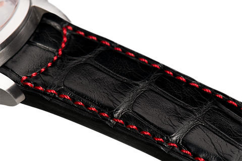Classic: black Louisiana alligator - red stitching