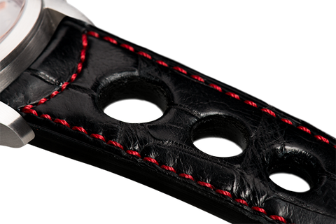 Sport: black Louisiana alligator - red stitching