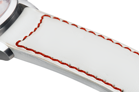 Classic: white eco calfskin - red stitching