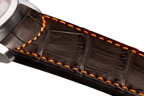Classic: brown Louisiana alligator - orange stitching