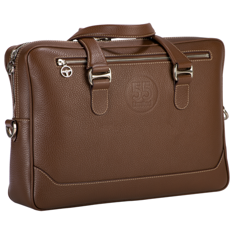 City Briefcase: Brown - Natural -  Leather-good - Raidillon
