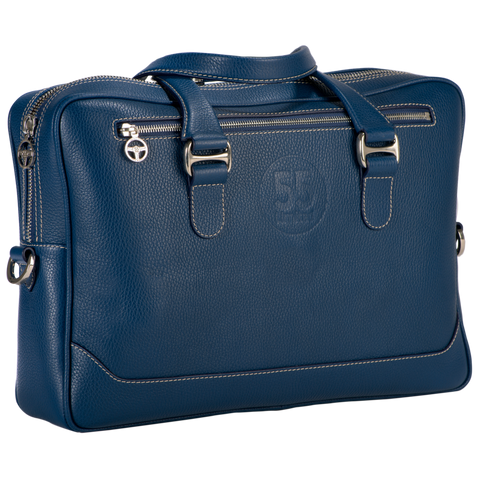 City Briefcase: Navy - Natural