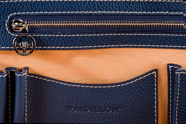City Briefcase: Navy - Natural -  Leather-good - Raidillon