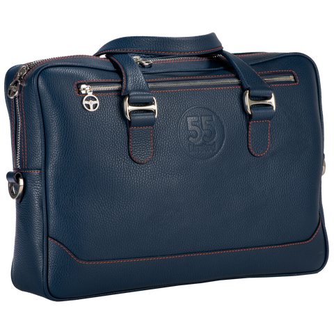 City Briefcase: Navy - Orange