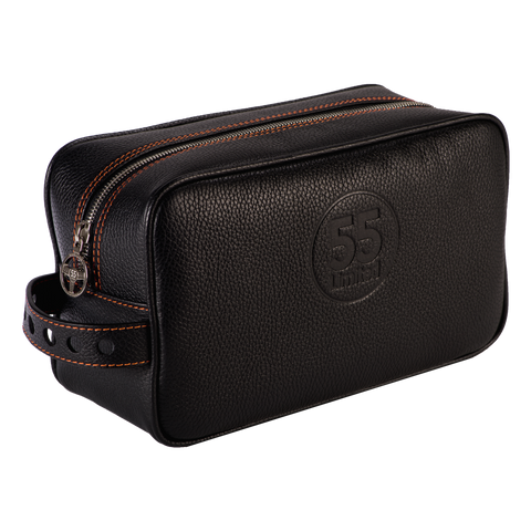 Dopp Kit: Black - Orange -  Leather-good - Raidillon