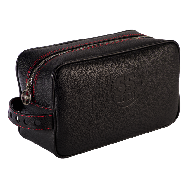 Dopp Kit: Black - Red -  Leather-good - Raidillon