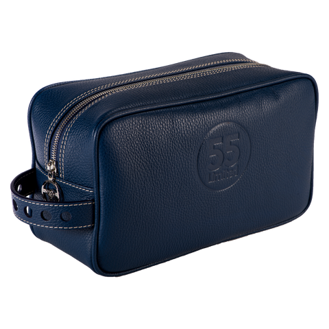Dopp Kit: Navy - Natural -  Leather-good - Raidillon