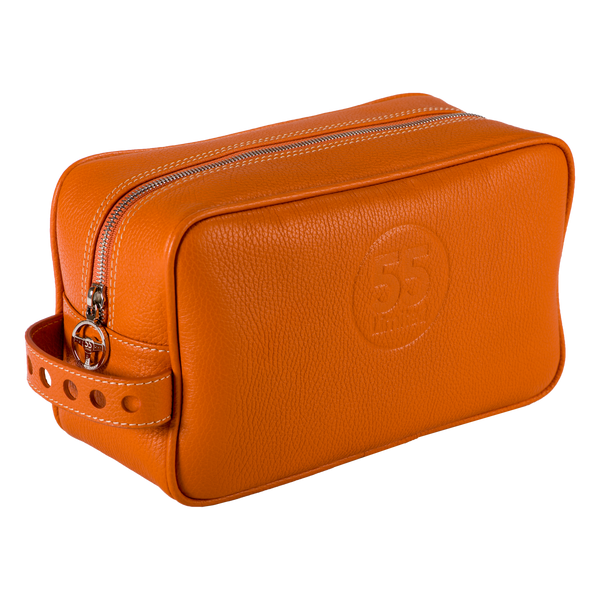 Dopp Kit: Orange - Natural -  Leather-good - Raidillon