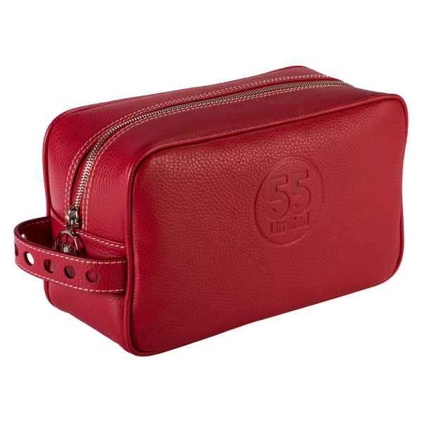 Dopp Kit: Red - Natural -  Leather-good - Raidillon