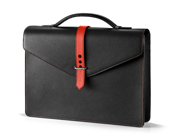 Gentleman Briefcase: Black/Red - Red -  Leather-good - Raidillon