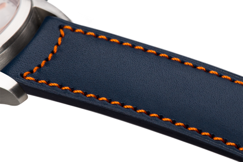 Classic: navy blue eco calfskin - orange stitching