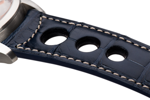 Sport: navy blue Louisiana alligator - natural stitching -  Wriststrap - Raidillon