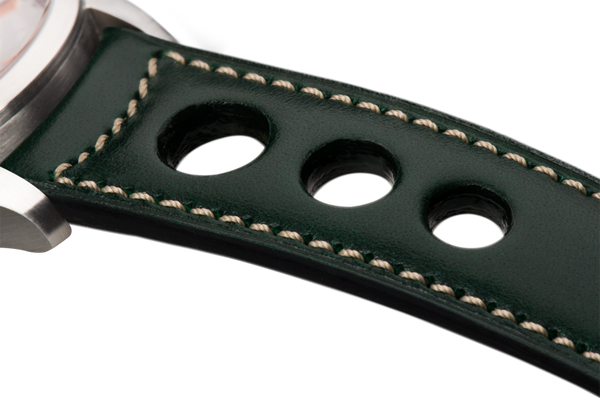 Sport: racing green eco calfskin - natural stitching -  Wriststrap - Raidillon