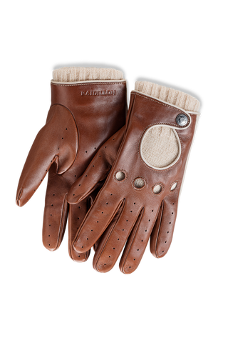 Gentleman Racing Gloves: Light Brown - Beige cashmere lined