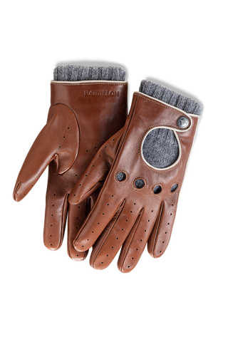 Gentleman Racing Gloves: Light Brown - Grey cashmere lined