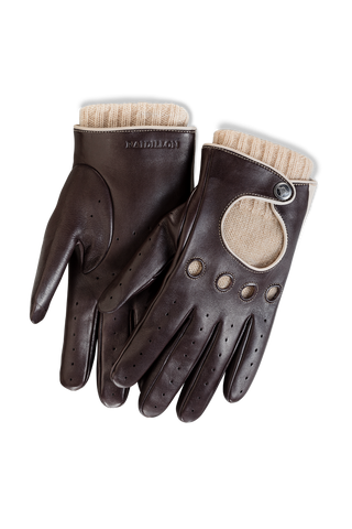 Gentleman Racing Gloves: Brown Oatmeal - Beige Cashmere Lining -  Accessories - Raidillon