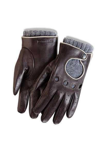 Gentleman Racing Gloves: Brown Oatmeal - Grey Cashmere Lining -  Accessories - Raidillon