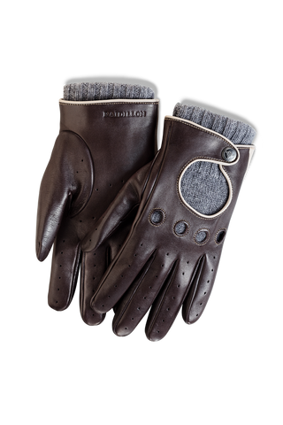 Gentleman Racing Gloves: Brown Oatmeal - Grey Cashmere Lining