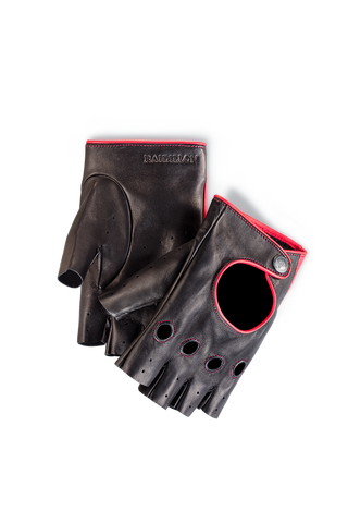 Fingerless Racing Gloves: Black - Red