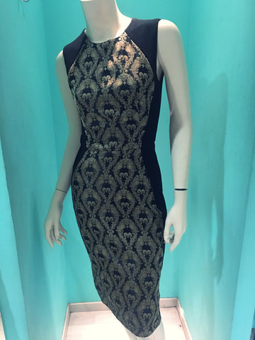 New Dress Black with Gold motif VK Polyxeni Pret a Porter