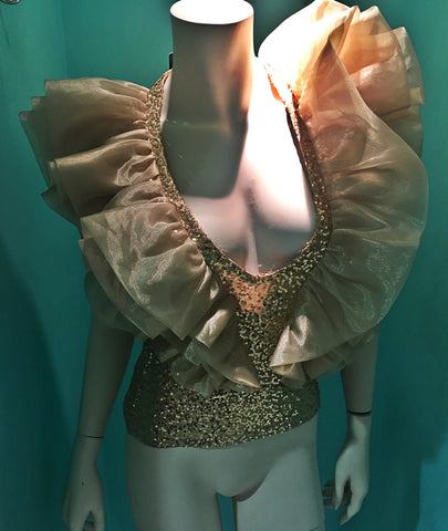 """RentCouture"" evening Couture Gold blouse only for rent size small"