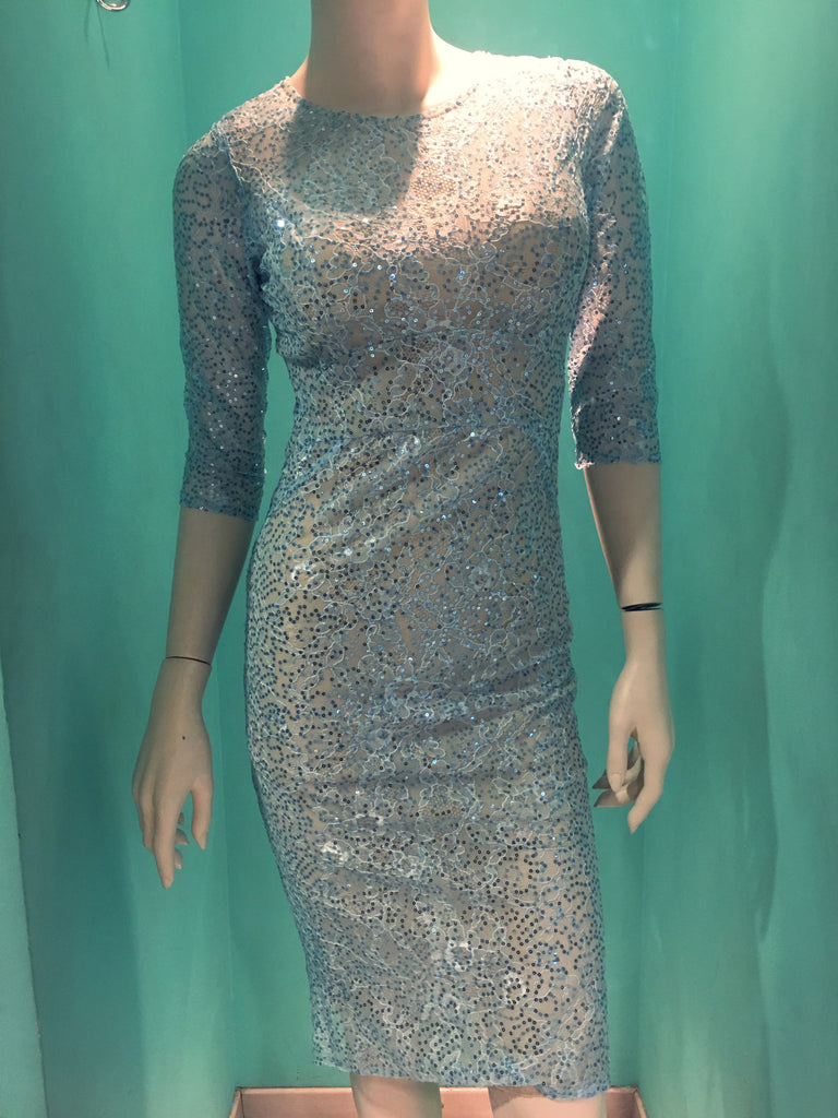 Light blue sparkly dress to the knee