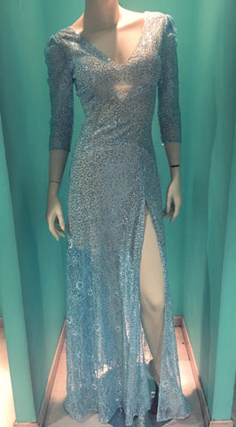 Light blue long sparkly dress