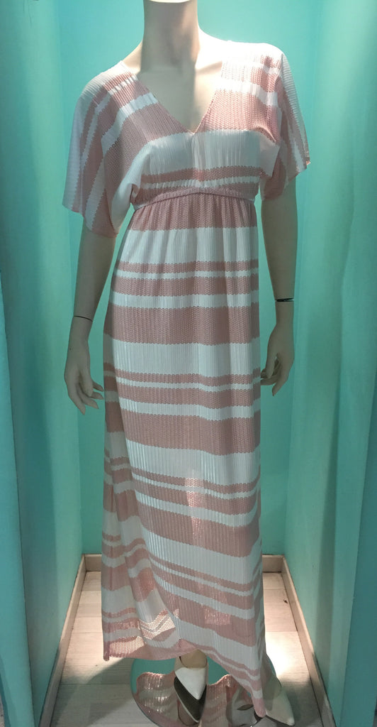 New SS 2017 long dress light pink with white stripes