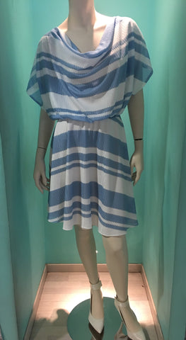 New short light blue with white stripes dress SS 2017