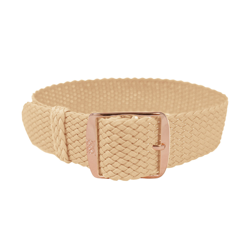 Biege Perlon Strap - Rose Gold Buckle