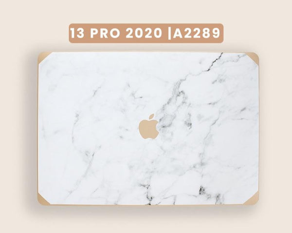 13 Pro Touch Bar 2020 PREORDER | Gold and Logo Marble Macbook Case